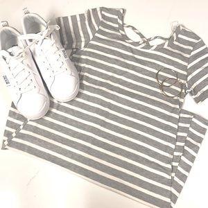 Olivia Rae.  Striped criss cross dress.